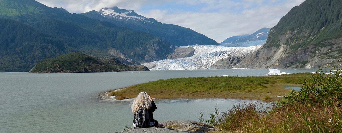 Karen L Nelson visiting the Mendenhall Glacier in Juneau, Alaska.